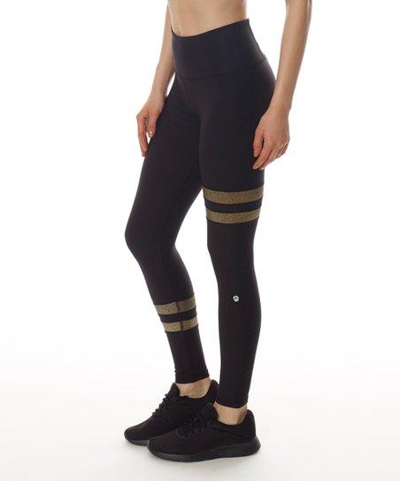 483dbdb37 X by Gottex Black   Gold Metallic Stripe Leggings - Women