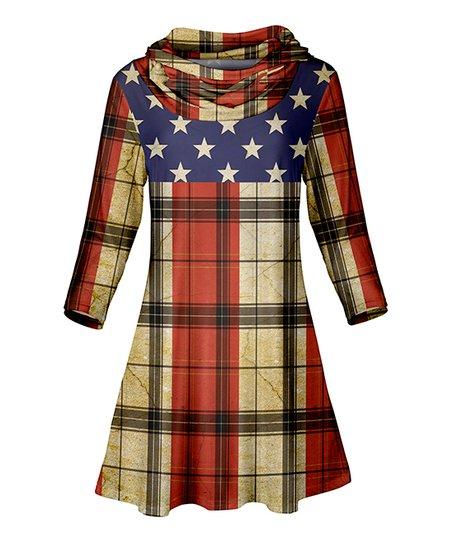 ae3530b6b7b love this product Blue & Red Plaid Cowl Neck Tunic - Women & Plus