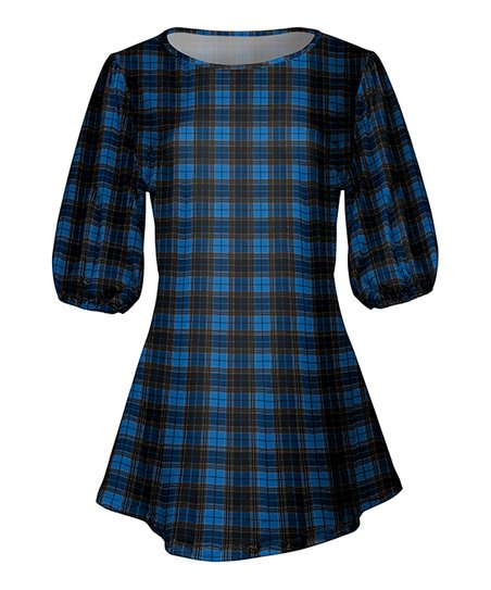 05ff676b28a love this product Blue & Black Plaid Fit & Flare Tunic - Women & Plus