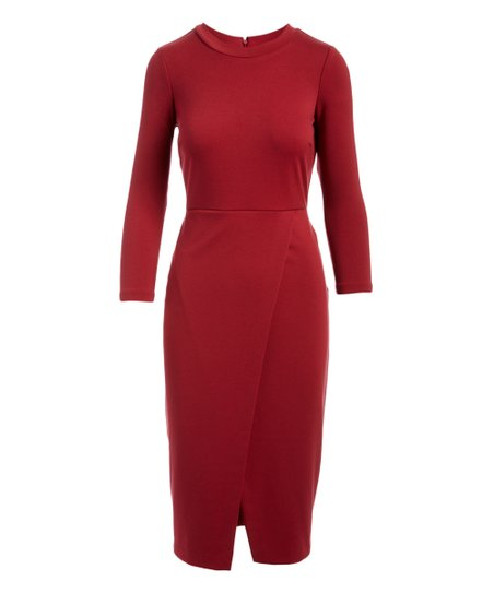 Catherine Catherine Malandrino Borscht Red Front-Slit Bodycon Dress ... cda824717