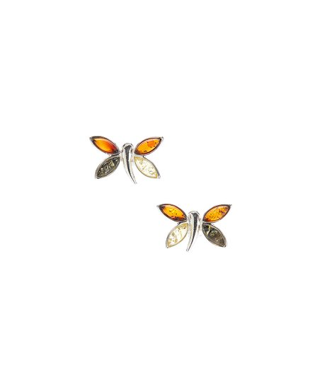 9720329bb Amber by Vessel Amber & Sterling Silver Dragonfly Stud Earrings   Zulily
