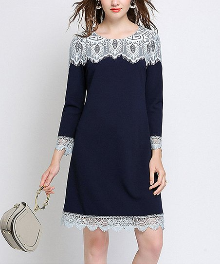 6aea8261547 love this product Navy Lace-Trim Shift Dress - Women