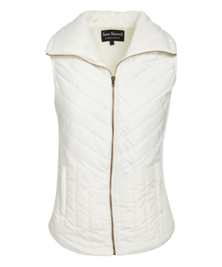 Jason Maxwell Vanilla Ice Spread Clear Quilted Vest - Women