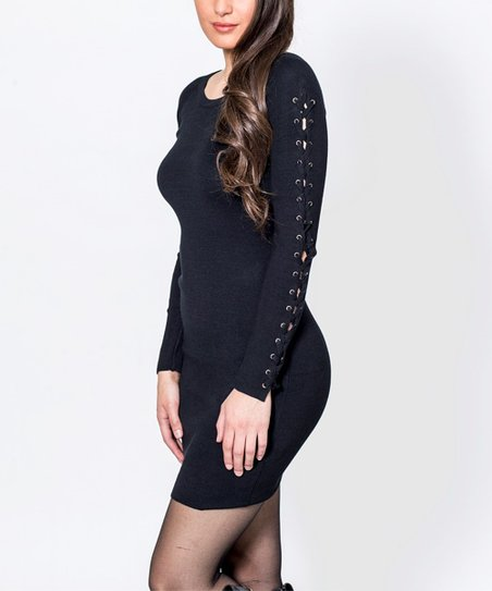 So Nice Black Lace Up Sleeves Sweater Dress Women Zulily