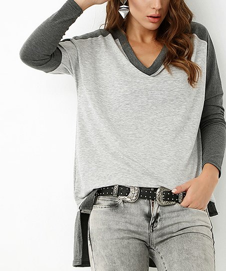 39f73fac641d2 love this product Gray   Anthracite Color Block V-Neck Top - Women