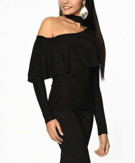 76b84834a868 Simmly Black Asymmetrical Choker-Cutout Top - Women