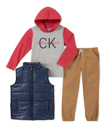 love this product Red   Gray  Calvin Klein Jeans  Hoodie Set - Toddler 9a37d5f9e