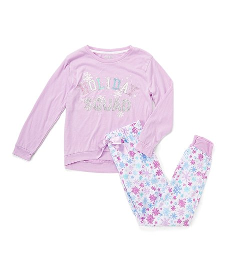 love this product Purple  Holiday Squad  Fleece Pajama Set - Girls 4ac8ac98c