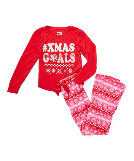 love this product Red  Xmas Goals  Fleece Pajama Set - Girls 0bcbde203