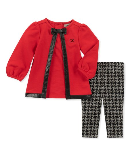 7e012c326ec06 love this product Red & Black Bow Cardigan & Houndstooth Leggings - Infant