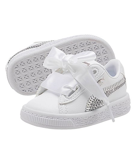 PUMA White   Silver Basket Heart Bling INF Leather Sneaker - Girls ... 460b9498f