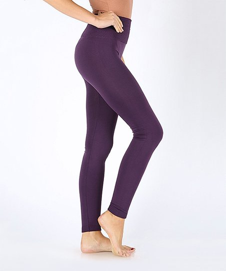 a8aee93ca51 Yelete Dark Purple High Waist Tummy-Control Fleece Leggings - Women ...