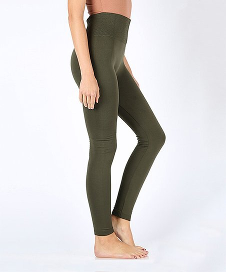 50cb61a9cff Yelete Dark Olive High Waist Tummy-Control Fleece Leggings - Plus ...