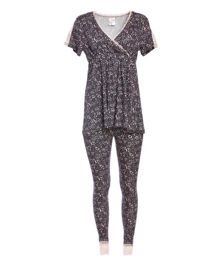 d526061dcf98b Lamaze Maternity Intimates Graphite Floral Maternity/Nursing Pajama ...