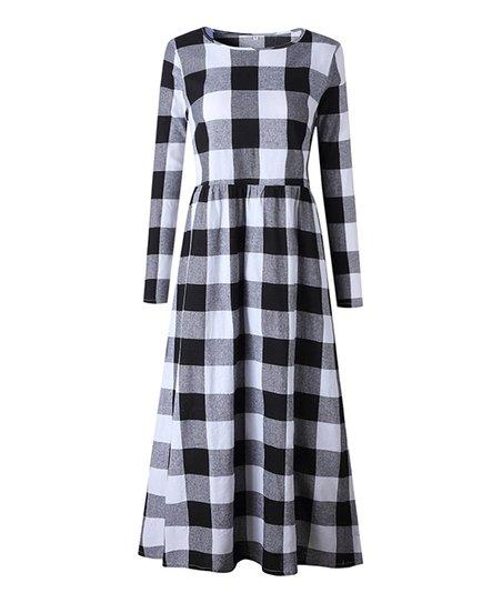 6f1fc25361d7 Yokodea Black & White Buffalo Check Maxi Dress - Women   Zulily