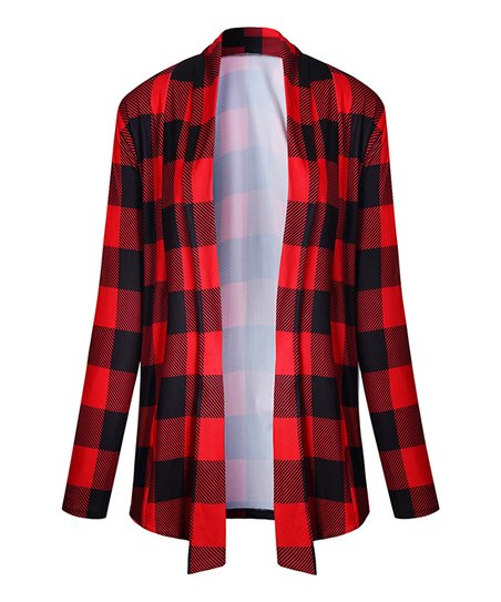 e363a4f413 love this product Red   Black Buffalo Check Open Cardigan - Women