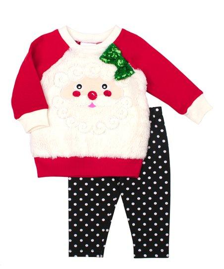 24dfcdee9 love this product Red Santa Claus Sweatshirt & Black Polka Dot Leggings -  Newborn