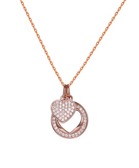 f88801e2b66 18k Rose Gold-Plated Open Circle Star Pendant Necklace With Swarovski®  Crystals