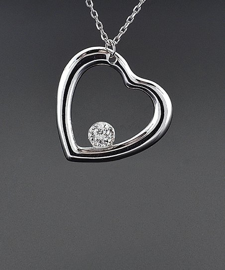 17b9e575422 love this product Sterling Silver Floating Crystal Heart Pendant Necklace  With Swarovski® Crystals