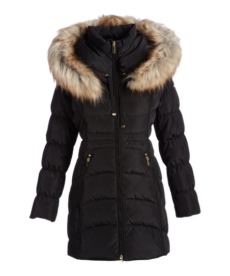ea712066c2afa Laundry by Shelli Segal Black Faux Fur Trim Hooded Puffer Coat ...