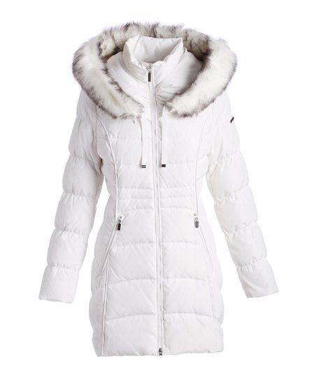 35e25894a9cd9 Laundry by Shelli Segal White Faux Fur Trim Hooded Puffer Coat ...