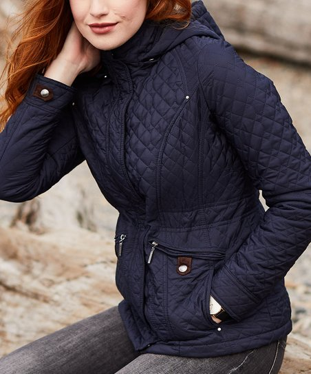 0a1196c8a3e45 Weatherproof Dark Night Hooded Quilted Jacket - Women | Zulily
