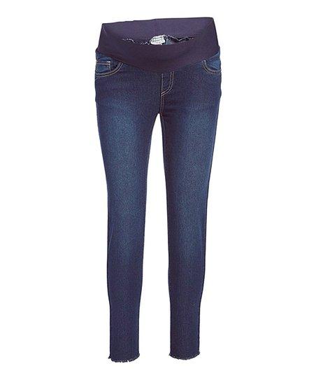 02d40dbf4c00a Times 2 Dark Wash Frayed-Hem Maternity Skinny Jeans - Plus Too | Zulily