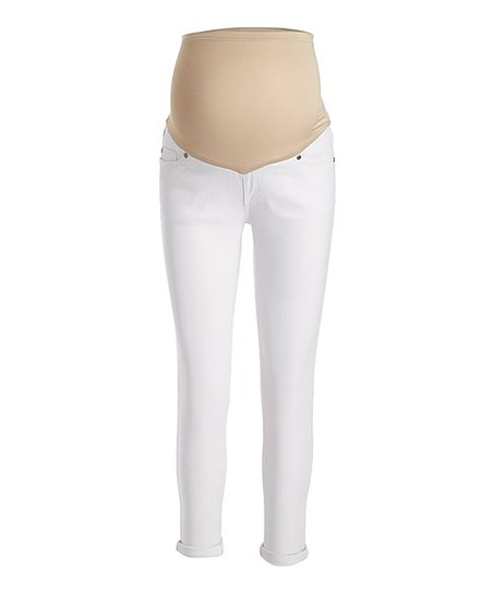 49c32db31dd26 love this product White Over-Belly Panel Roll-Cuff Maternity Skinny Jeans -  Women