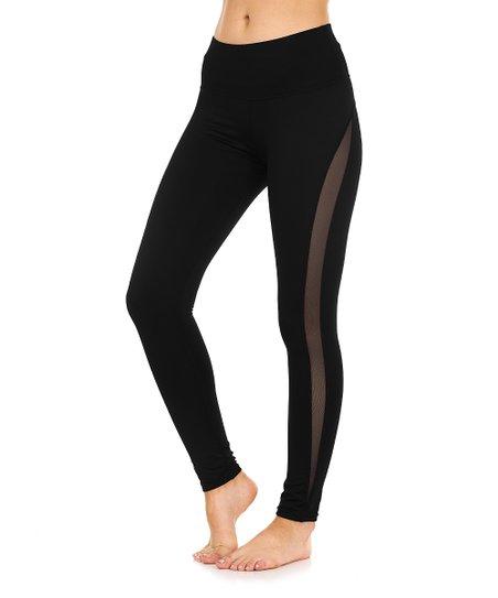 2686583bff6fb S2 Sportswear Black Mesh-Stripe Leggings - Women   Zulily