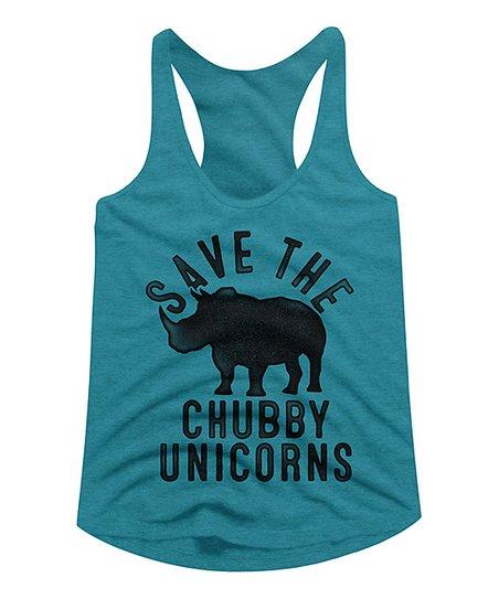 6491b4623 love this product Galapagos Blue Heather 'Chubby Unicorns' Racerback Tank -  Women