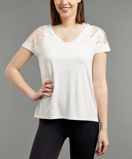c481d7c463a6 TEMA Athletics Off-White   Rose Gold Foil Easy V-Neck Tee - Plus ...