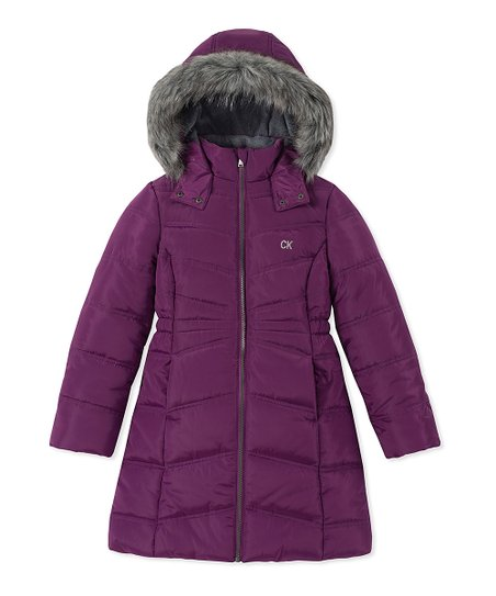 choose latest popular style best service Calvin Klein Jeans Purple Aerial Puffer Coat - Girls