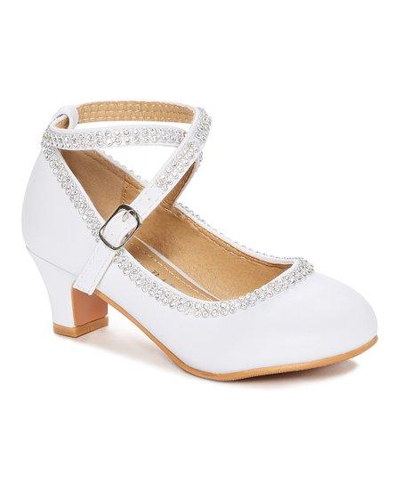 c4aef62823 Adorababy White Crisscross-Strap Kitten Heel - Girls | Zulily