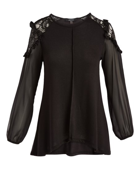 83411ede2506e3 love this product Black Lace-Accent Bishop-Sleeve Top - Women