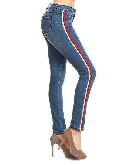 df68bba09109 Nina Rossi Red & White-Stripe Skinny Jeans - Juniors | Zulily