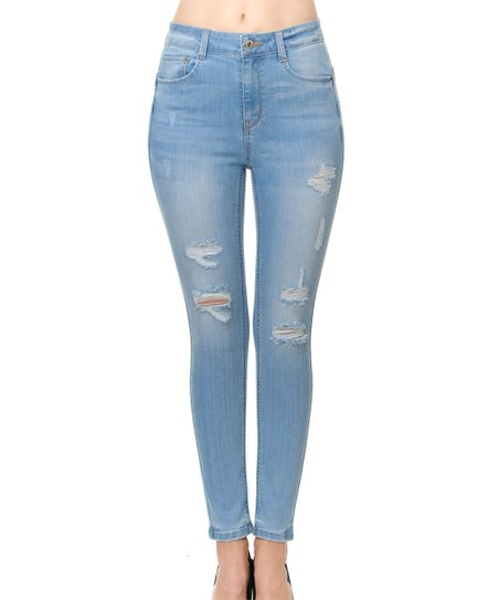 16fe0d8a Wax Jean Light Wash High-Rise Push-Up Skinny Jeans - Women | Zulily