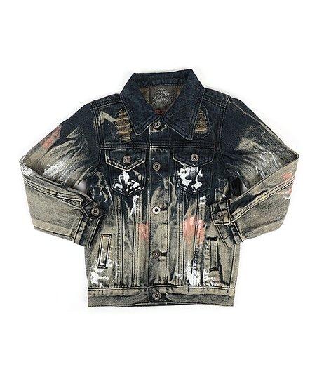 Gs 115 Black Pink Splatter Distressed Denim Jacket Boys Zulily