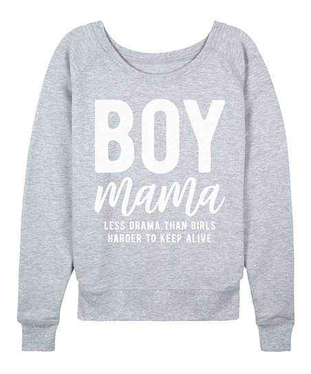cce2b577 Instant Message Womens Athletic Heather Boy Mama Slouchy Pullover ...