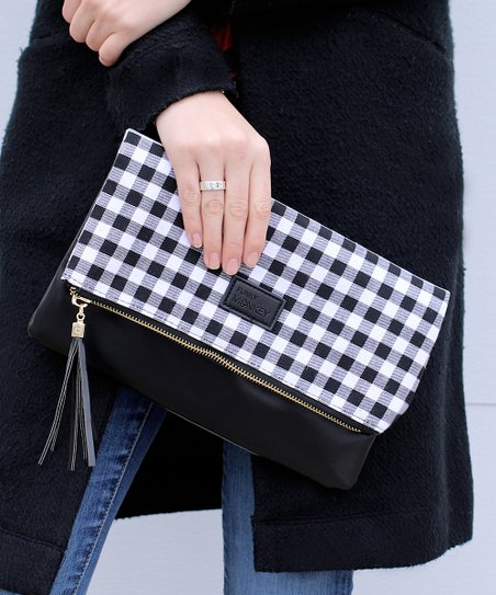 068ab4d97fab love this product White   Black Buffalo Check Fold-Over Clutch