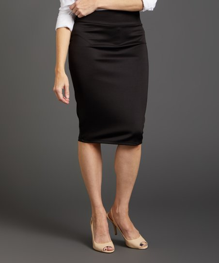 1eccac13b1 VKY & CO Black Scuba Knit Pencil Skirt - Plus | Zulily