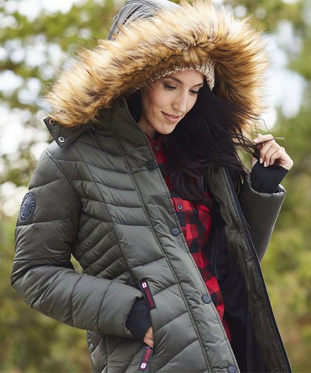 21649a7b8 love this product Olive & Natural Faux Fur Trim Hooded Puffer Coat - Plus