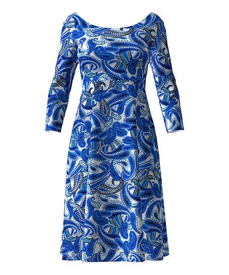 1869e9aa love this product Royal Blue & White Paisley Three-Quarter Sleeve A-Line  Dress - Women