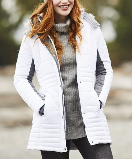 89c4a9f59 Weatherproof White & Gray Hooded Puffer Coat - Women