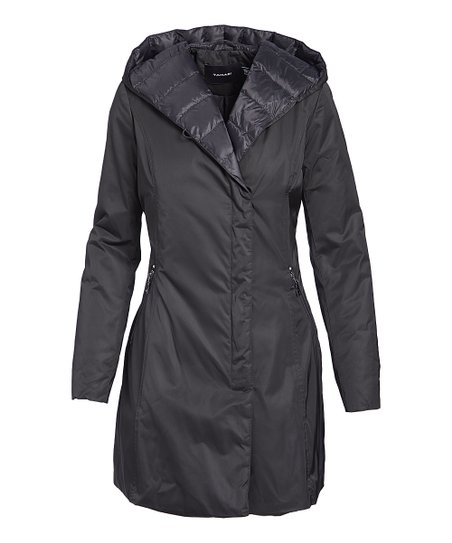 a0f96f8d15 T Tahari Black Hooded Quilted Jacket - Women | Zulily