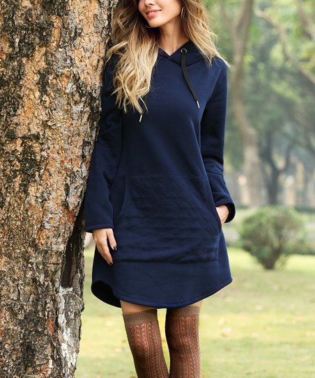 ef22fcc73cd love this product Navy Front-Pocket Hooded Sweater Dress