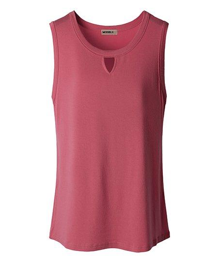 ad4117d6ba4960 Doublju Dark Pink Keyhole Tank - Women