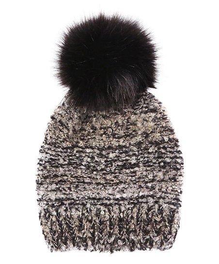a9b286769 Do Everything In Love Black Marled Cozy Faux Fur Pom-Pom Beanie ...