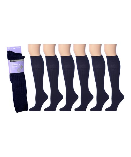 37f16c01d love this product Navy Ribbed Six-Pair Knee-High Diabetic Socks Set - Women