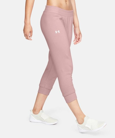 c4d5c2a16b Under Armour® Flushed Pink Rival Fleece Crop Pant - Women