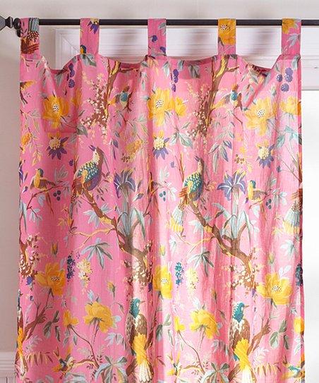 Delicieux Karma Living Pink Bird Curtain Panel